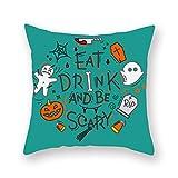 Funda de Almohada de Calabaza Halloween Funda de cojín de Cintura Sofá Decoración para el Hogar Funda de Almohada con Estampado de Halloween