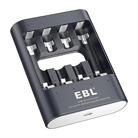 EBL AAA/AA Rapide Chargeur de Pile Rechargeable iQuick Chargeur de Batterie AA/AAA/Ni-MH Chargé avec Port USB