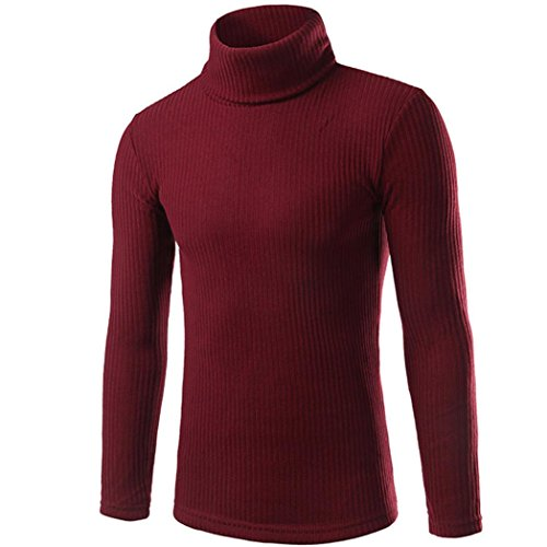 Tonsee Chandails Hommes Casual Haut-col Hommes Pulls Top Blouse Rouge
