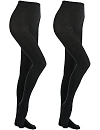 bfa7465d8d540 MANZI- 2 Pairs 400 Denier Black Tights Women's Thermal Warm Fleece Opaque  Tights
