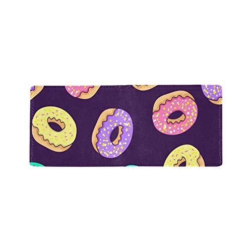 Price comparison product image Yummy Cartoon Donut Planet Cool Lether Business Card Coin Id Pouches Holder Travel Clutch Purse Money Clip Bifold Wallet Case for Girls Men and Women Front Pocket Checkbook