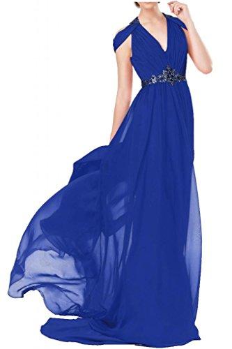 """Toscana sposa general-case""""sassi Chiffon V-taglio un'ampia abiti da sera lungo Party ball vestimento Blu Royal"""