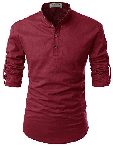 NEARKIN Henley Amada Hombres Cuello Manga Larga diario Look lino camisas - Rojo -