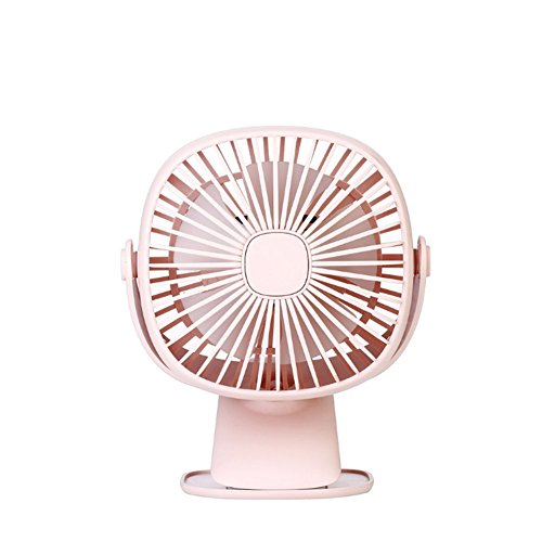 iiintow Quadratische Box Nachtlicht Fan 2000 mA USB-Direktladung Studenten Tischoberfläche Bett Kopf Multifunktional Mini Klemme Kleiner Ventilator, pink -