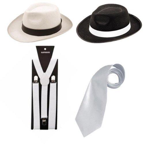 Gangster Fancy 1920's Dress Mens Costume Mob Hat Braces Tie Set (OneStopClothingCo) (Black Hat-White Tie&Braces)