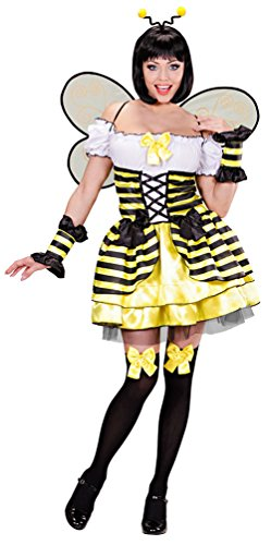 Karneval-Klamotten Kostüm Biene-n Damen Biene-n Damen-Kostüm sexy Biene Kleid mit Biene-n-Flügel und Biene-n Haarreif Karneval Damen-Kostüm Größe 38/40