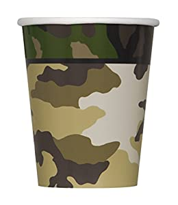 Unique Party Vasos de Papel Fiesta de Camuflaje Militar, 8 Unidades, Color Verde, 266 ML (48526)