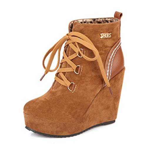 High Heel-plattform, Boot (SHANGWU Damen Wedges Ankle Boots/Versteckte High Heel 10m Sneakers Lace Up High Top Plattform Casual Stiefel Schwarz Party Schuhe Stiefel Größe UK 3-9 (Farbe : Braun, Größe : 33))