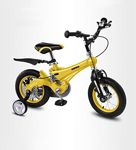 SXMXO Laufrad 12/14/16 Zoll Kinderfahrräder Jungen Mädchen Gelb ab 2-12 Jahre mit Stützräder und Rücktritt Scheibenbremse aus Magnesiumlegierung,16inches