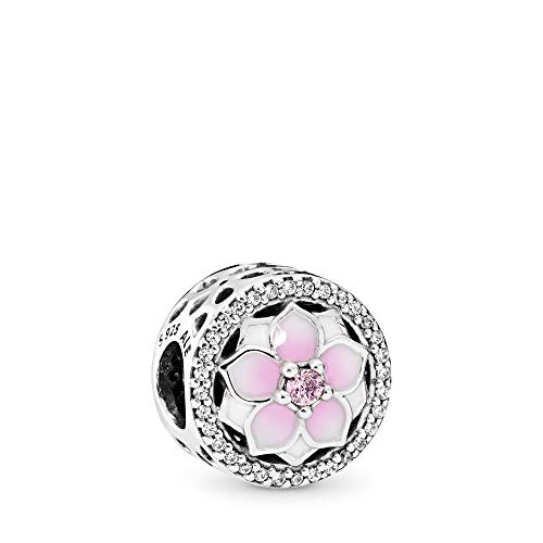 Pandora Moments Rosafarbene Magnolienblüte Charm Sterling Silber, Cubic Zirkonia, Emaille 792085PCZ