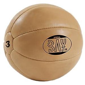 BAY® LEDER PU 3 Kilo Medizinball, Profi-Qualität, Gymnastik/Fitness Ball, Farbe braun, drei Kilo Gymnastikball Rehaball Fitnessball Gewichtsball 3 KG Medizinbälle Medizin Vollball Gewichtsball