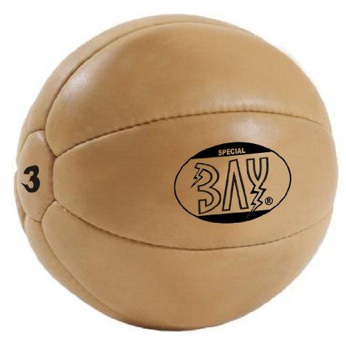 BAY® LEDER PU 3 Kilo Medizinball, Profi-Qualität, Gymnastik / Fitness Ball, Farbe braun, drei Kilo Gymnastikball Rehaball Fitnessball Gewichtsball 3 KG Medizinbälle Medizin Vollball Gewichtsball