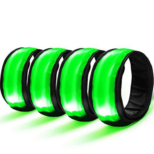 TAOtTAO 4 STÜCKE Beleuchteter Armgurt mit Patchenbesatz LED Armband Sicherheits Reflektor Armband Leuchtband Für Laufen Radfahren (B)