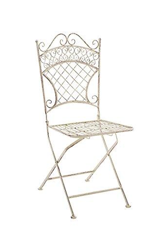 Nostalgischer Klapp-Stuhl aus Eisen in antik-creme für Garten, Terrasse, Balkon; Garten-Möbel mit...