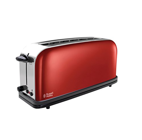 RUSSELL HOBBS 21391-56 COLOURS FLAME RED - TOSTADORA  RANURA LARGA  CALIENTA PANECILLOS  FUNCION DE DESCONGELADO Y CANCELACION
