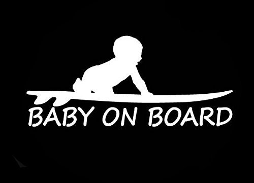 SUPERSTICKI® CCI Baby on Board Surf Funny Aufkleber Decal Hintergrund/Maße in inch Vinyl Sticker|Cars Trucks Vans Walls Laptop|White |3.0 x 6.5 in|CCI1655 - Surf Van