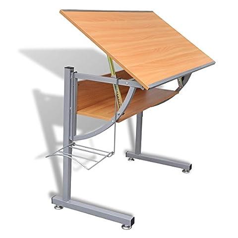 Table Hauteur Ajustable - vidaXL Table À Dessin Avec Plateau Inclinable