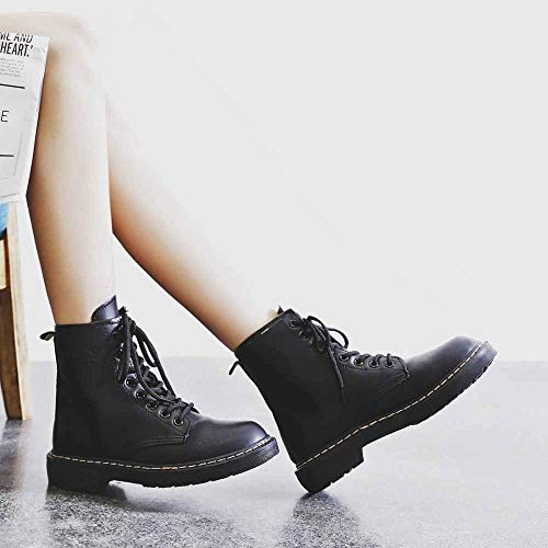 OHQ Martin Botas Moda Mujer Estilo Inglaterra Cuero Martin Zapatos Motos Botas