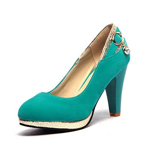 VogueZone009 Femme Couleur Unie Suédé à Talon Haut Rond Tire Chaussures Légeres Vert