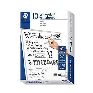 STAEDTLER 351-9 Lumocolor Whiteboard Marker with Bullet Tip - Black, Pack of 10