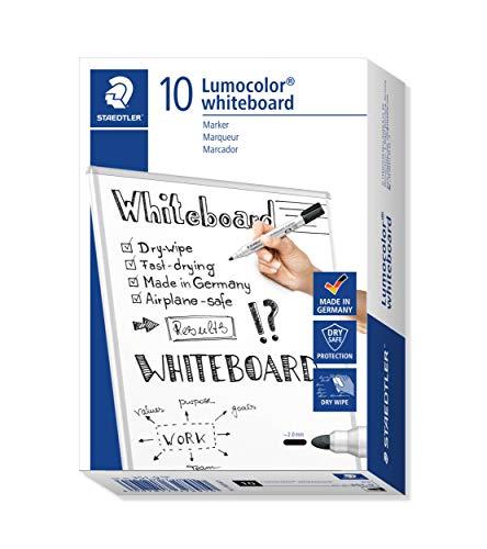 STAEDTLER Lumocolor whiteboard marker, 10 pennarelli di colore nero, punta tonda, 351-9