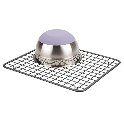 mDesign Moderner Metall-Draht-Abtropfgestell für die Küche, Metall - Stahldraht-Design - ermöglicht Weingläser, Tassen, Schüsseln und Geschirr Abtropfen in der Spüle Pack of 1 graphit -