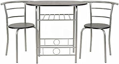 ts-ideen Juego de 3 piezas comedor mesa y sillas para la cocina marco de metal MDF plata y negro 75 x 80