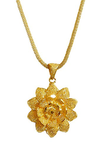 DollsofIndia Gold Plated Chain With Flower Pendant - Chain - 16 Inches Earrings - 2 Inches (RB90-mod) - Golden