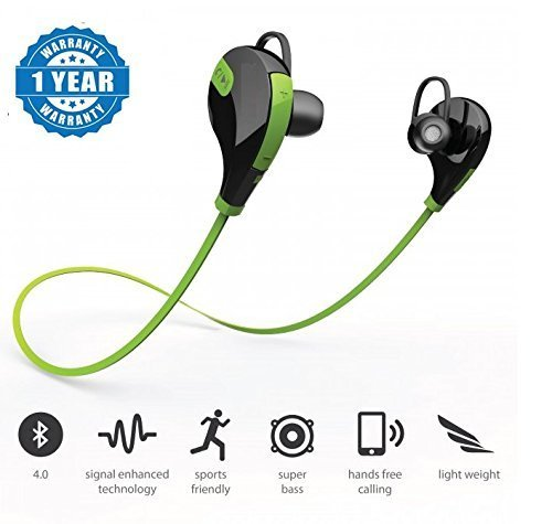 Nokia C2-02 compatible Green SPORTS Bluetooth Jogger Headset Wireless 4.0 Handfree Stereo Headphone Compatible with Xiaomi Mi, Apple, Samsung, Sony, Lenovo, Oppo, Vivo and ALL other Smartphones (1 Year Warranty, Color May Vary)by SYL  available at amazon for Rs.599