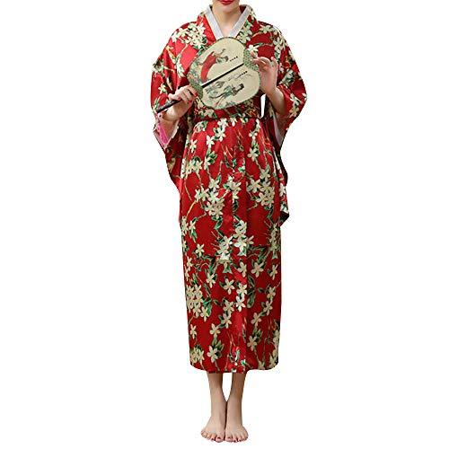 HongH Traditionelles Japanisches Kimono-Kostüm für Damen, elegant, Sakura-Zweig-Print, Yukata Kimono mit Obi Gürtel - Rot - Groß