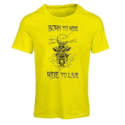 Maglietta Donna Born To Ride! Motorcycle Clothing (X-Large Giallo