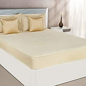 Amazon Brand - Solimo Water Resistant Premium Mattress Protector, 78x72 inches - King Bed Size, Beige