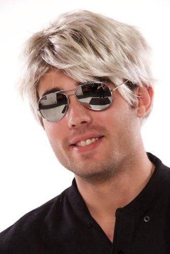 Braun Mullet Perücke (uberfun 80s Pop Star kurz Blond Braun Perücke George Michael Stil Street)