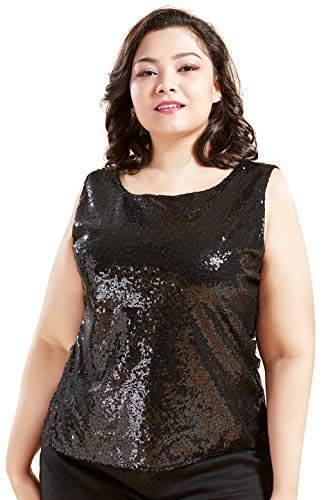 Coucoland Damen Pailletten Top Plus Size Ärmellos Glitter Oberteile Club Weste Shirt Cocktail Party Tank Top Große Größen Damen Halloween Karneval Fasching Kostüm (Schwarz, XXL)