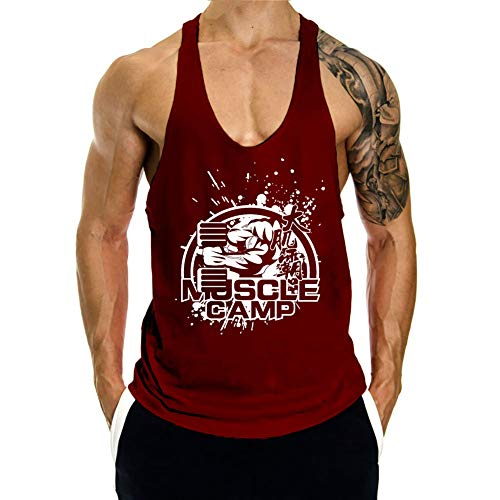 f86530a327ac89 CLZGYM Men s Gym Bodybuilding Muscle Stringer Workout Training Tank Top Vest-Wine  Red-XL
