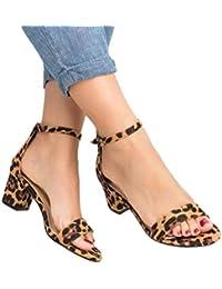 29d88f63 ABsolute Sandalias Sandalias Mujer Verano 2019 Tacon Medio Mujer Sexy  Estampado de Leopardo Sandalias de Hebilla