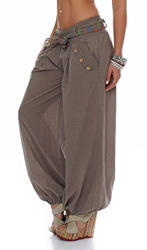 malito Damen Pumphose in Unifarben | leichte Stoffhose | super Freizeithose für den Strand | Haremshose