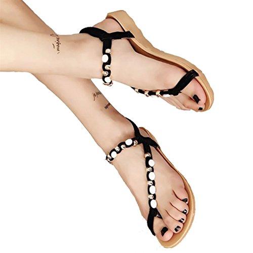 Vovotrade Frauen Gummi-flache Schuhe wulstige Böhmen Freizeit Sandalen Peep-Toe Flip Flops Schuhe Schwarz