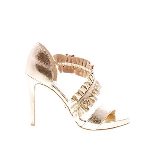 Michael Kors Donna Sandalo Bella Open Toe in Pelle Oro con Fascia Ruches. Tacco 10,5 cm Color Oro Size IT 38.5 - EU 38.5 (US 8)