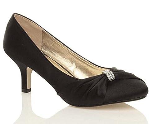 Chic Feet Ladies Womens Black Satin Wedding Bridal Evening Low Heel Court Shoes - UK Size 6