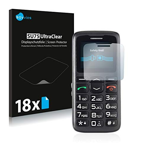 18x Savvies SU75 UltraClear Bildschirmschutz Schutzfolie für Simvalley Mobile XL-915 V3 (ultraklar, mühelosanzubringen)