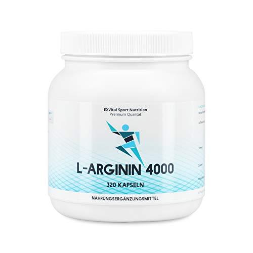 EXVital L-Arginin 4000 hochdosiert, 320 Kapseln in deutscher Premiumqualität, 2-3 Monatskur, semi-essentielle Aminosäuren 1er Pack (1x 403g)