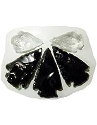 Ensemble de 3 pointes de flèche en obsidienne et 2 pointes de flèches en cristal de quartz