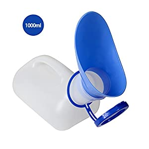 Unisex Töpfchen Urinal für Auto Camping Outdoor Reisen, Urinal für Mann und Frau, Incontinece Pee Flasche, haben eine Abdeckung und Stecker, Kunststoff Urinale, Alter Mann, Kind (1000 ML)