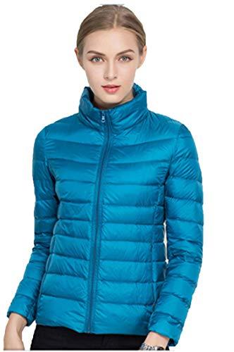 Sytiz New Winter Down Coat Women Warm Chic Parkas Solid Stand 90% White Duck Long Sleeve Jackets Light Slim Autumn Peacock Blue XL