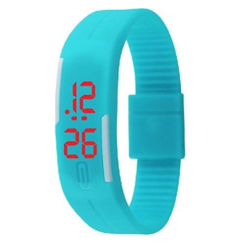 Padgene Montre Bracelet LED Numérique Silicone Sport Montre Rubber Date Femmes Hommes Unisexe, Bleu Claire