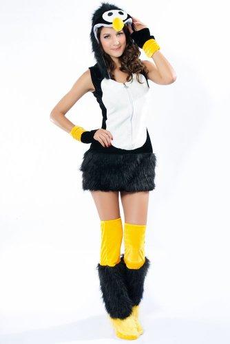 Flauschiges Fell-Kostüm SEXY PINGUIN, - Plüsch Pinguin Kostüm