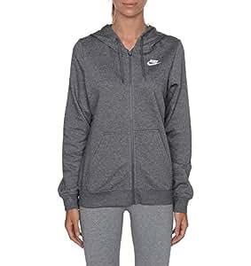 Nike W NSW Hoodie FZ FLC–Felpa per donna, Donna, W Nsw Hoodie Fz Flc, Grigio (grigio carbone melange / carbone melange / bianco), XS