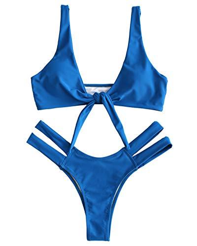 ZAFUL Bikini Set Sexy Badeanzug Bikinis mit Knoten High Cut T-String Gepolstertes Einfarbiges Bikini-Set Swimsuit Beachwear Swimwear Bademode BlauMedium
