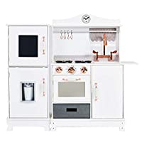 Teamson Kids TD-12952A Little Chef Wooden Toy Kitchen Playset, White & Rose Gold
